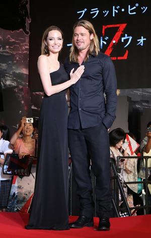 ブラッド・ピット&アンジェリーナ・ジョリー(2013年7月撮影)