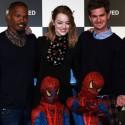 左からジェイミー・フォックス、エマ・ストーン、アンドリュー・ガーフィールド、映画『アメイジング・スパイダーマン2』来日会見にて
