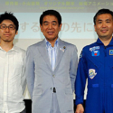 左から小山宙哉さん、下村大臣、若田光一さん、映画『宇宙兄弟#0』トークショー付特別試写イベント