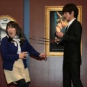 映画『フィフティ・シェイズ・オブ・グレイ』のコラボポスターに参加している俳優の溝端淳平と芸人の黒沢かずこがお披露目イベントに出席