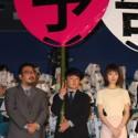 中村監督、濱田岳、戸田恵梨香、映画『予告犯』初日舞台あいさつにて