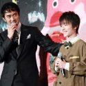 父と子を演じた阿部寛と吉澤太陽、映画『海よりもまだ深く』舞台挨拶付き完成披露試写会にて