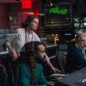 Carsey Walker, Jr. (Sam Shaw), Julia Roberts (Patty Fenn) and James Warden (Jim) manage the control room in TriStar Pictures' MONEY MONSTER.