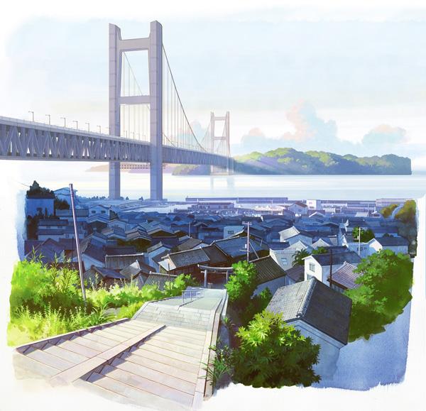 映画『ひるね姫 ~知らないワタシの物語~』舞台となる岡山 県児島の背景美術