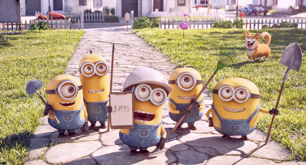 (左から)カール、ケビン、フィル、 スチュアート、ジェリーというミニオン