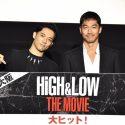 AKIRA(右)、小澤雄太、映画『HiGH&LOW THE MOVIE』初日舞台あいさつ@大阪・なんばパークスシネマにて