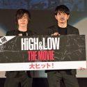 青柳翔(右)、早乙女太一、映画『HiGH&LOW THE MOVIE』初日舞台あいさつ@札幌シネマフロンティアにて