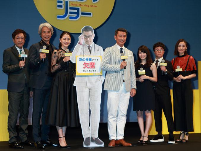 左から君塚監督、時任、長澤、中井(写真)と澄田キャスター、志田、濱田、吉田