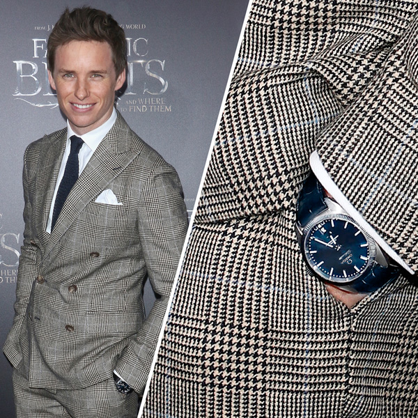 エディ・レッドメインは、この日、自身のお気に入りであるオメガ社の時計コンステレーション グローブマスターを着けて登場!