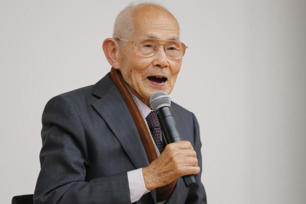 土田喜代一さん(元日本軍海軍上等水兵)、映画『追憶』公開初日イベントにて