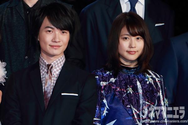 左から神木隆之介、有村架純、映画『3月のライオン』前編完成披露試写会にて