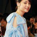 広瀬すず、ワンピース袖のリボンがキュート、映画『チア☆ダン』完成披露試写会にて