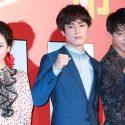 左から永野芽郁、間宮祥太朗、竹内涼真、映画『帝一の國』初日舞台あいさつにて