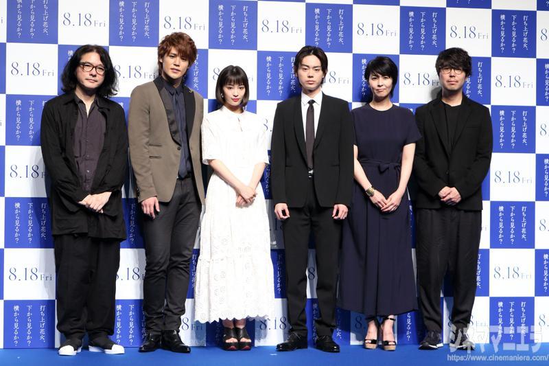 左から岩井俊二、宮野真守、広瀬すず、菅田将暉、松たか子、川村元気(敬称略)