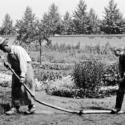 """コメディ『水を撒かれた水撒き人』(1895)ルイ&オーギュスト・リュミエール兄弟が""""シネマトグラフ""""で撮影した"""