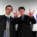 氷川竜介氏と原恵一監督、監督はエスパー魔美ポーズでニッコリ