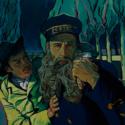 郵便配達人の父ジョゼフ・ルーラン(クリス・オダウド)と息子の青年アルマン・ルーラン(ダグラス・ブース)、映画『ゴッホ 最期の手紙』より