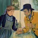 オーヴェール=シュル=オワーズ、ラヴー宿の娘アドリーヌ・ラヴー(エレノア・トムリンソン)とアルマン・ルーラン(ダグラス・ブース)、映画『ゴッホ 最期の手紙』より