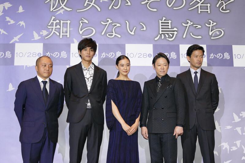 左から白石監督、松坂桃李、蒼井優、阿部サダヲ、竹野内豊
