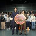 左から阿部寛、染谷将太、映画『空海 -KU-KAI- 美しき王妃の謎』百花繚乱の幻術バレンタイン試写会にて