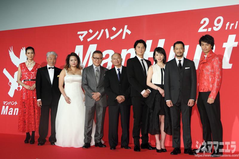 左からTAO、倉田保昭、アンジェルス・ウー、國村隼、ジョン・ウー、福山雅治、桜庭ななみ、池内博之、斎藤工