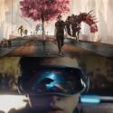 VRワールド[オアシス]の世界 ちなみに、静止画左下にはサンリオのキャラクター(けろっぴ、キティちゃん、バッドばつ丸)の姿が!