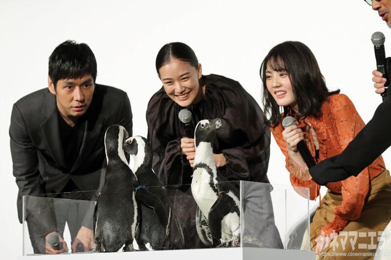 左から西島秀俊、蒼井優、北香那、ペンギンに大はしゃぎ!