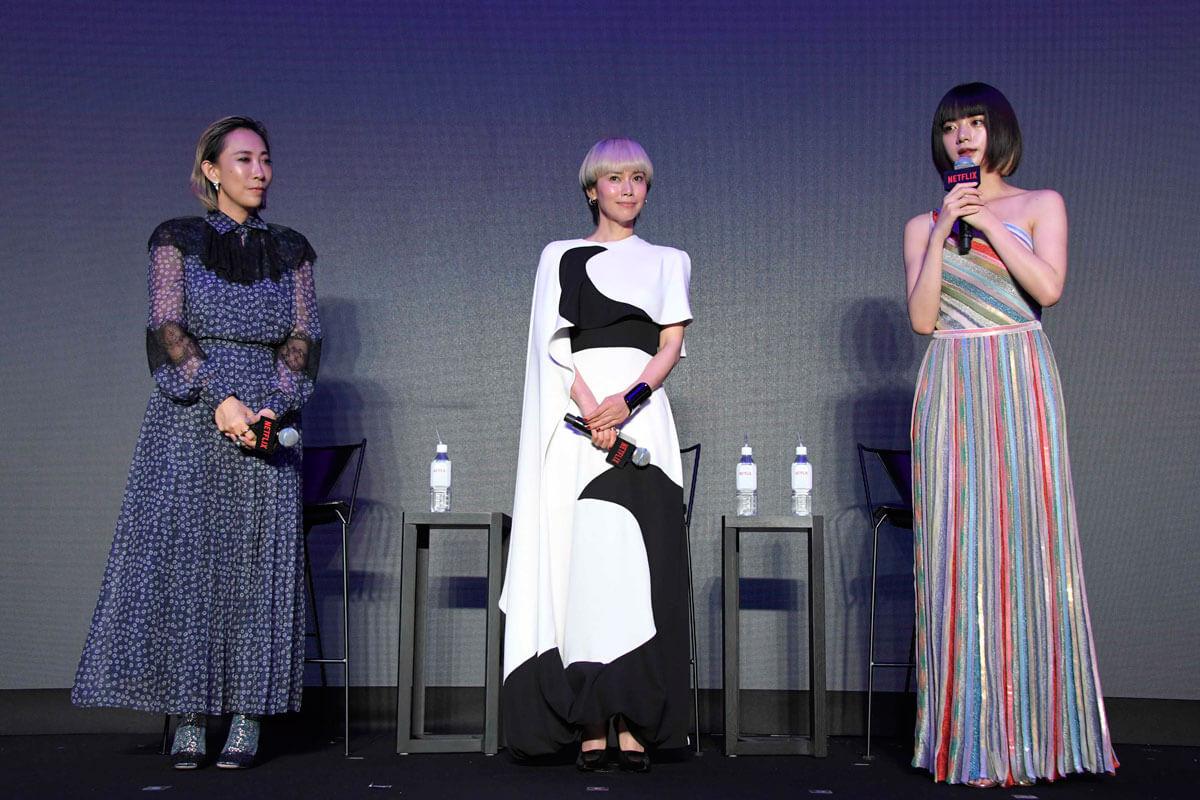 左から蜷川実花監督、中谷美紀、池田エライザ、ドラマ「FOLLOWERS」