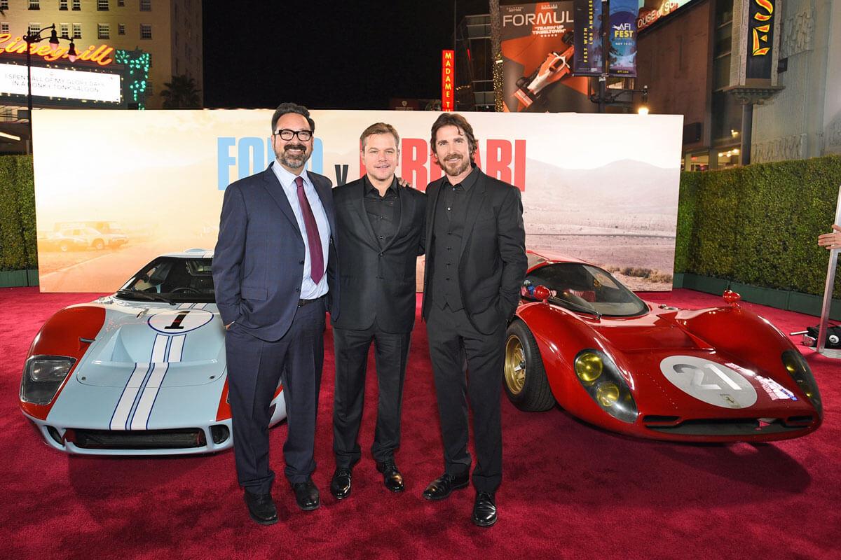 左からジェームズ・マンゴールド監督、マット・デイモン、クリスチャン・ベイル