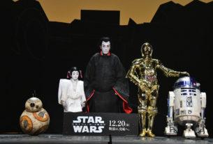 左からBB-8、堀越勸玄、市川海老蔵、C-3PO、R2-D2