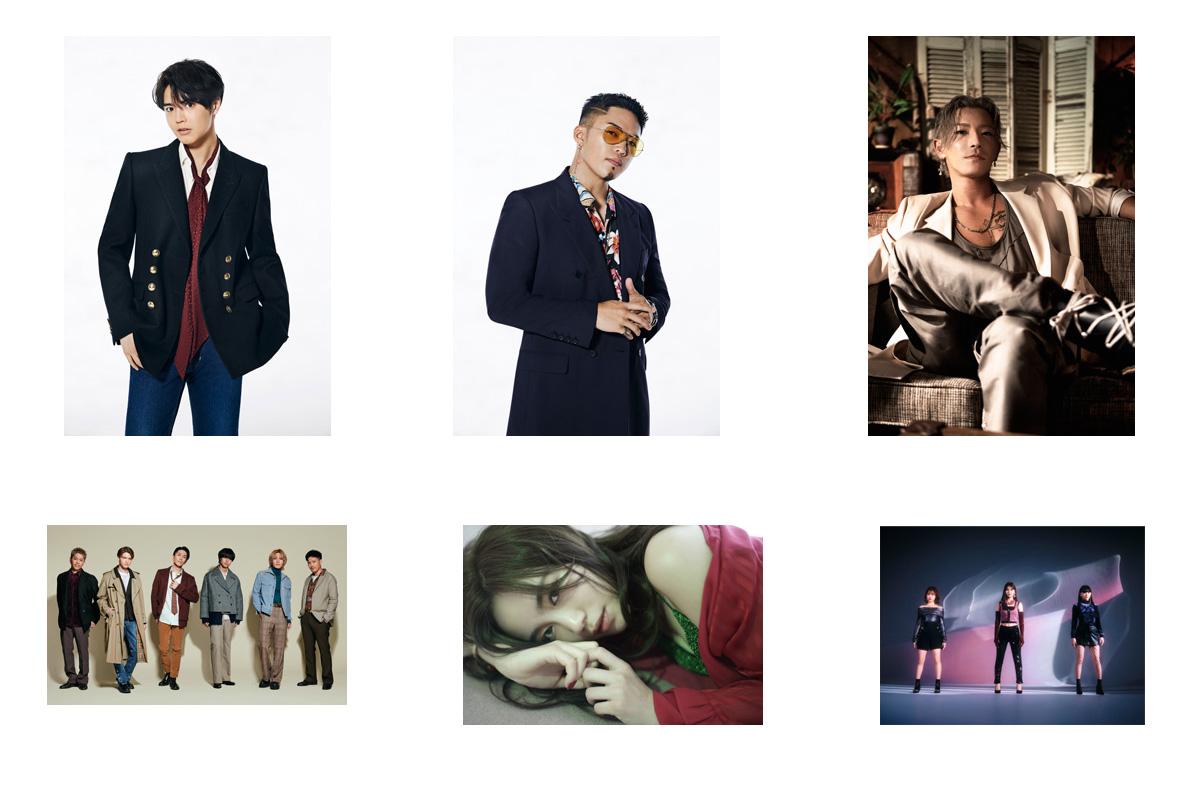 上左から片寄涼太、数原龍友、KAZUKI 下左からDEEP SQUAD、伶、iScream